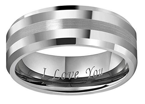 Crownal 6mm 8mm 10mm Tungsten Carbide Wedding Band Ring Engraved ''I Love You'' Men Women Brushed Strip Beveled Edge (8mm,12) by CROWNAL (Image #1)