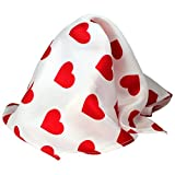 "White Silk Valentine Pocket Square Handkerchief by Royal Silk – 16"" Sq. Red Heart Design"