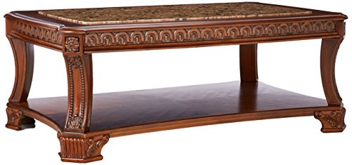 Ashley Furniture Signature Design - Ledelle Coffee Table - Cocktail Height - Rectangular - Brown with Faux Marble Top (Table Rectangular Mission Coffee)