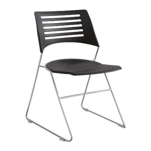 (Safco Products 4289BLSL Pique Stack Chair, Black/Silver)