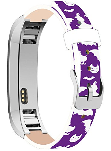 Bands Replacement for Fitbit Alta HR, Cisland Compatible Straps Replacement for Fitbit Alta (HR) Silver Connectors + Halloween Hallowmas All Saints' Day Purple Funny Print Gift ()