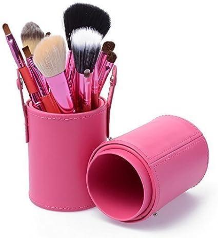 KanCai® – Kit profesional de maquillaje con 12 piezas (brochas de maquillaje y pinceles), con estuche cilíndrico de cuero: Amazon.es: Belleza