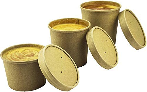 Contenedores de sopa desechables Kraft marrón con tapas - Cuencos de sopa de papel - Tinas para llevar para envases de helado, y Contenedores de delicatessen, 8 oz, paquete de 25: Amazon.es: Hogar