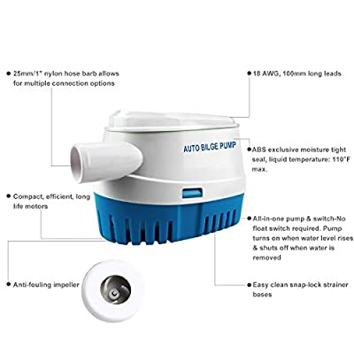BACOENG Automatic Submersible Boat Bilge Water Pump 12v 1100gph Auto with Float Switch