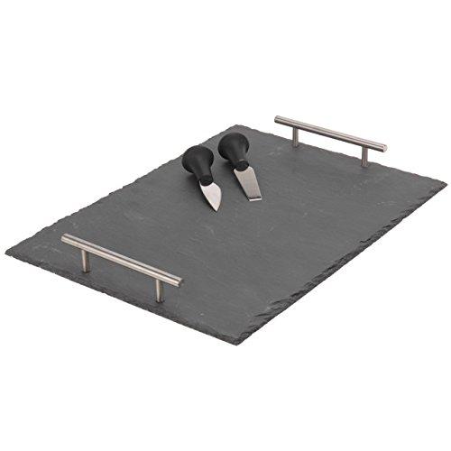 3 teiliges Set Schieferplatte Servierplatte Dessertplatte Käseplatte 30 x 40 cm