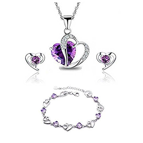 findout Amethyst red pink blue white Crystal Heart Silver pendant Necklace...