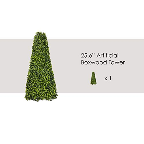 (Ecoopts Artificial Boxwood Trees Highly Realistic Decorative Buxus Tower, Topiary UV Resistant Fake Tree for Home Garden/Indoor & Outdoor Use 1 Pack)