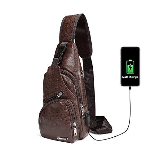 Charminer Bolso Messenger con USB Recargable,Bolso Mochila de Pecho Cuero para Hombres Bolso Bandolera Bolsa Sling Messenger Marron oscuro