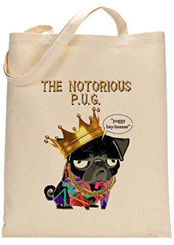 Pug Notorious Big Parody Custom Made Tote Bag