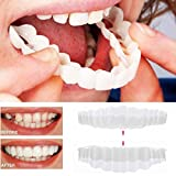 Inverlee 2Pcs Comfort Fit Flex Cosmetic Teeth Denture Teeth Top Cosmetic Veneer (1Pc Top+1Pc Bottom+2pc Adhesive)
