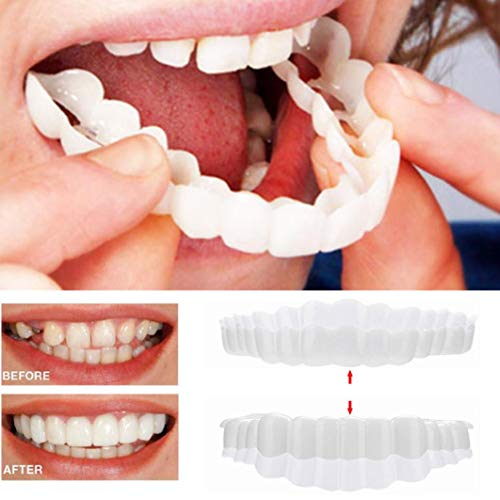 Inverlee 2Pcs Comfort Fit Flex Cosmetic Teeth Denture Teeth Top Cosmetic Veneer (1Pc Top+1Pc Bottom+2pc Adhesive) -