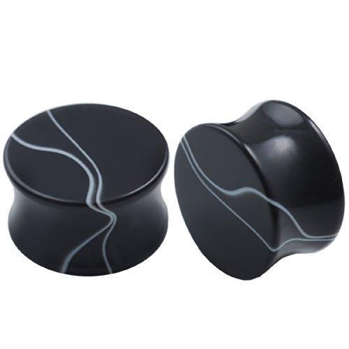 plugs 20mm ecarteurs oreille double flare ear acrylique marbre noir paire piercing oreille bijoux FRYS