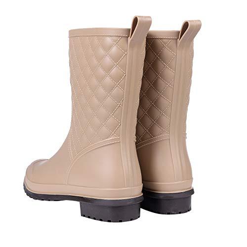Wide Litfun Black Womens Shoes Rain Rain Mid Waterproof Calf Outdoor Khaki Work Booties Garden Calf Boots r6rWf1n