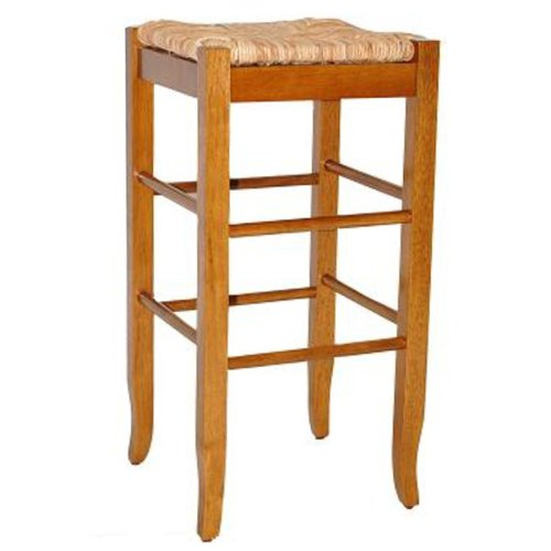 Boraam 94129 Square Rush Seat Bar Height Stool, 29-Inch, Oak
