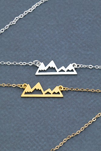 Silver Mountain Necklace - DII ABC - Gold Outline - Pacific Northwest - Nature Lover Hiker Gift - Wanderlust Jewelry - Travel Backpacker