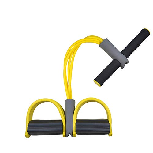 XRFF Fitness Gum 4 Tube Resistance Bands, Latex Pedal Exerciser Sit-up Pull Rope Bands Yoga Equipment Pilates Workout,Yellow