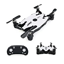 JJR/C H49 SOL Foldable Ultrathin Wifi FPV Drones with 720p HD Camera,Dual Remote Control Mode (White)