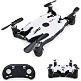 JJR/C H49 SOL Foldable Ultrathin Wifi FPV Drones with 720p HD Camera,Dual Remote Control Mode(White)