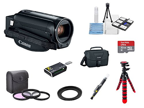 Canon VIXIA HF R80 A KIT + 3PC Filter Kit + 2 Tripods + 32GB microSD Card + Step up adapter ring + Camera Bag + Card Reader + 6PC Cleaning Kit + 2-in-1 Lens Cleaning Pen by Hawthorne
