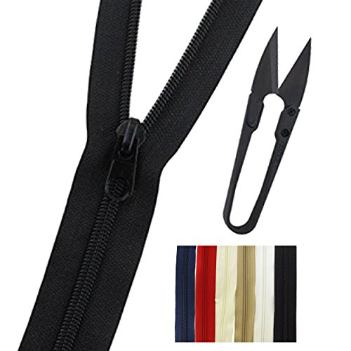 Bulk Zippers for Sewing, Arts and Crafts  with 12 Metal Pull