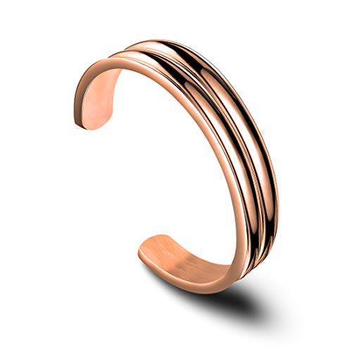 - Zuo Bao Double Channel Hair Tie Bracelet Holder for Women Stainless Steel Groove Ponytail Holder Bracelet, Can Holds 2 Hair Ties (Rose Gold)