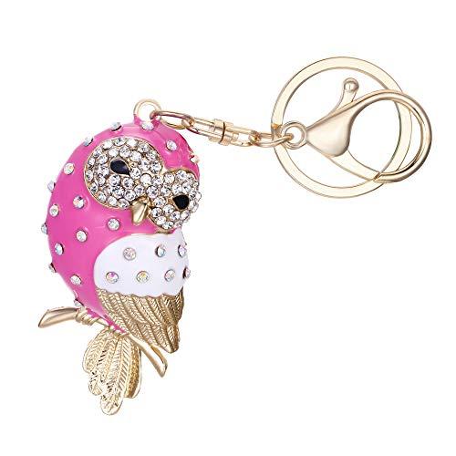 EVER FAITH Women's Austrian Crystal Pink Enamel Adorable Owl Bird Keychain Bag Accessory ()