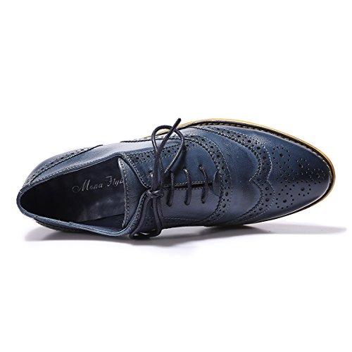 Mona Vliegende Vrouwen Leder Geperforeerd Lace-up Oxford Schoenen Voor Vrouwen Vleugeltip Multicolor Brougue Schoenen Blauw