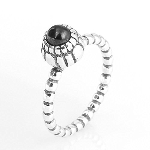 TAOTAOHAS Antique Solid Sterling 925 Silver Ring [Birthday Blooms, Jet Black] Best Sellers w Crystal