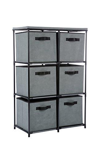 "MULSH Storage Shelf Drawer Chest Organizer Units Storage Cabinet 6-Drawer Organizer with 6 Removable Non-Woven Fabric Bins in Grey,25"" W x 13.19"" D x38 H(WxDxH)"