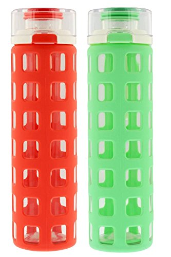 Ello Syndicate Glass Water Bottle, 20oz Georgia Peach & Strobe Green (2 Pack)