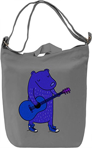 Bear Playing On Guitar Borsa Giornaliera Canvas Canvas Day Bag| 100% Premium Cotton Canvas| DTG Printing|