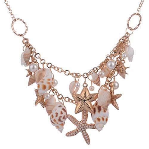 (Products,MERSDW Fashion Jewelry Bohemian Beach Style Original Ecological Starfish Shell Pearl Multi-Layer Winding Pendant Necklace Bracelet (Gold))