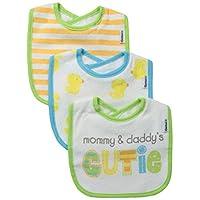 Gerber Unisex-Baby Newborn 3 Pack Neutral Terry Dribbler Bib, Green, One Size