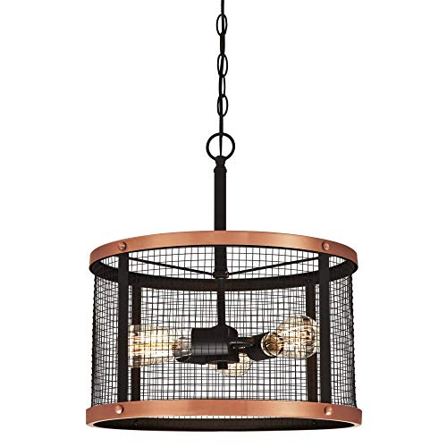 Pendant Light Copper (Westinghouse Lighting 6332700 Emmett Three-Light Indoor Pendant, Oil Rubbed Bronze Finish with Washed Copper Accents and Mesh Shade, Galvanized Steel)