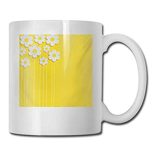 Coffee Cup Yellow Spring Flowers Daisy Pattern on Clean Background Blossom Meadow Scenic Art Print for Office and Home 11 oz Yellow White (Made England Tea Cup Daisy)
