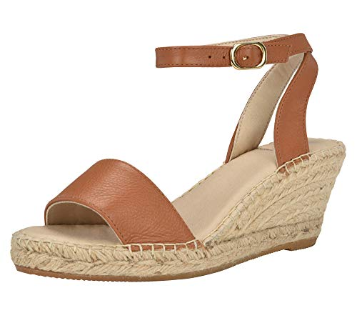(ANDREW STEVENS Leah Espadrille Shoes for Women | Leather Wedge Sandal with Ankle Strap Buckle Closure and Open Toe, 2.75