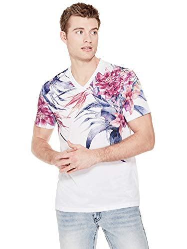 GUESS Factory Men's Adder Floral V-Neck Tee Pure White for sale  Delivered anywhere in USA
