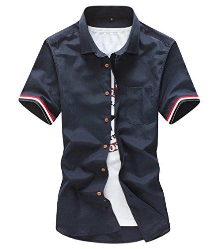 [スゴフィ]SGFY  メンズ ポロシャツ ストライプの袖 無地 カジュアル シャツ ゴルフ ウェア (XL, ネイビー)