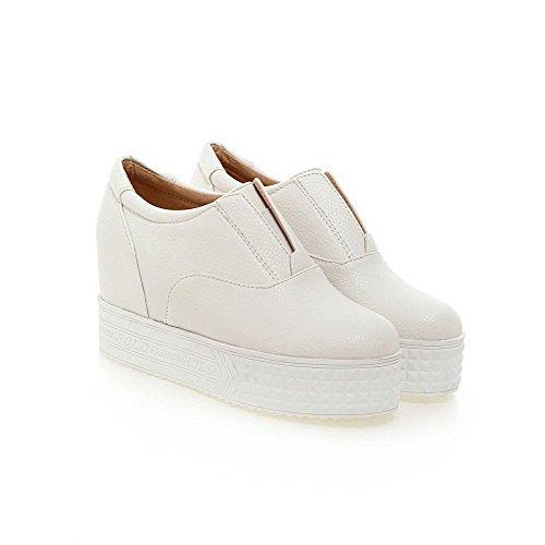 AgooLar Damen Rein PU Hoher Absatz Rund Zehe Ziehen auf Pumps Schuhe Weiß