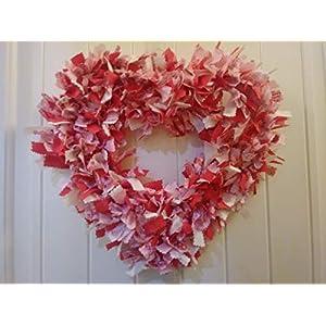 Valentines day, heart shape wreath, rag wreath, anniversary, valentines day front door decor, valentines wreath, heart wreath, love, 18