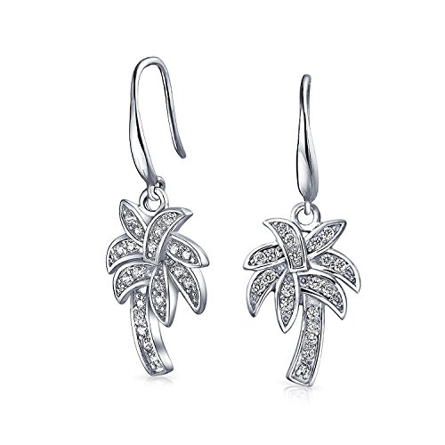 (Nautical Pave CZ Cubic Zirconia Palm Tree Dangle Earrings For Women For Teen 925 Sterling Silver French Hook)