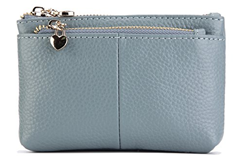 ZORESS Women Genuine Leather Zip Mini Coin Purse With Key Ring Triple Zipper Card Holder Wallet (Blue)