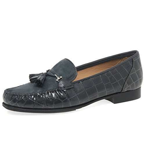 Papavero Womens Pascucci Mocassini Croc Charles Clinkard suede Grey ABS4n