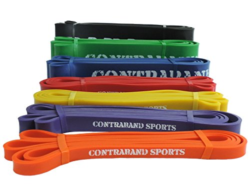 Contraband Sports 7419 Resistance Bands, Weight Lifting Bands, Powerlifting Bands, Pullup Bands, and Yoga Stretch Bands (#0 Orange, 41 inch)