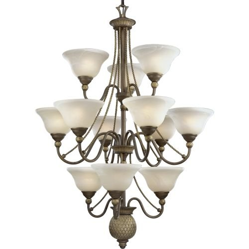 Progress Lighting P4122-86 12-Light Three-Tier Savannah Chandelier, Burnished (3 Tier 12 Light Pendant)