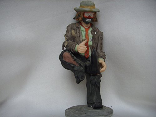 """Flambro Clown Collection Porcelain Vintage Figurine 5"""" Collectible ; Emmett Kelly Jr. A Hole in the Sole"""