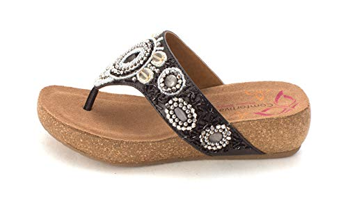 Comfortiva Womens Sade Open Toe Casual, Black, Size 7.5