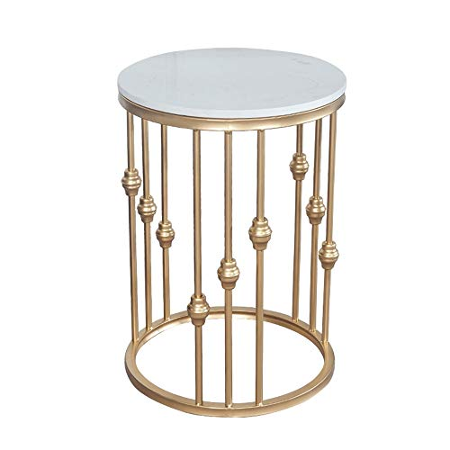 ZHIRONG Nordic White Marble End Table Living Room Round Sofa Side Table Telephone Table Balcony Golden Wrought Iron Coffee Table,19.6