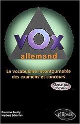 Vox allemand, le vocabulaire incontournable des examens et concours classé par niveaux