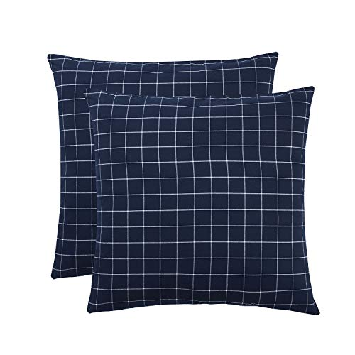 Wake In Cloud - Pack of 2 Pillow Cases, 100% Washed Cotton Pillowcases, Navy Blue with White Grid Plaid Geometric Pattern (European Size, 26x26 Inches)